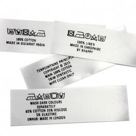 Étiquette de lavage imprimée en satin